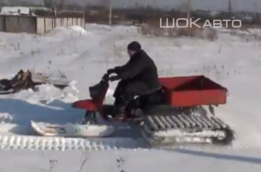 Снегоход из грузового мотороллера Муравей.