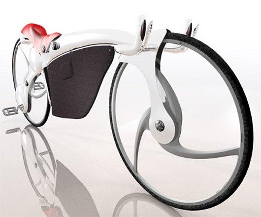 Складной велосипед с педалями на заднем колесе
