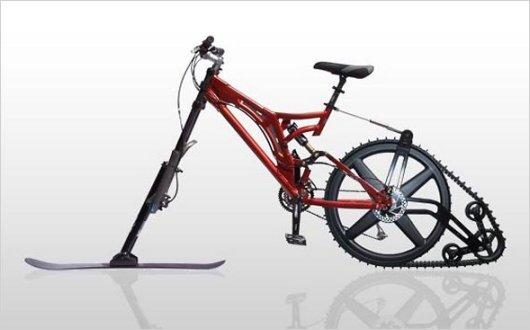 Велосипед с лыжей и гусеницей KTRAK