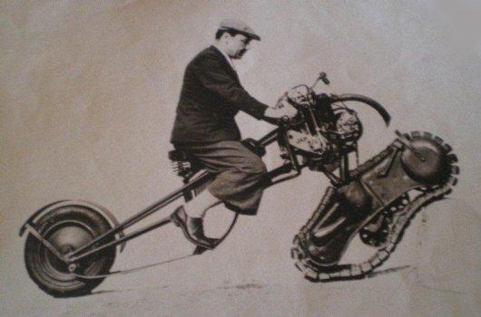 Мотоцикл Moto-chenille Mercier с гусеницей