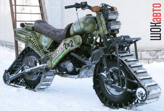 Полноприводный гусеничный мотоцикл-вездеход CIVAR 2×2